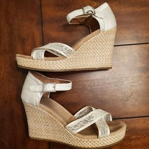 Toms white lace wedding wedges